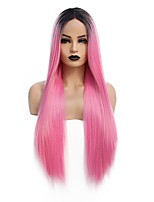 cheap -Synthetic Lace Front Wig Straight Gaga Middle Part Lace Front Wig Long Ombre Pink Synthetic Hair 22-26 inch Women's Heat Resistant Women Hot Sale Pink / Glueless