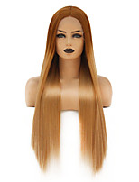 cheap -Synthetic Lace Front Wig Straight Gaga Middle Part Lace Front Wig Long Ombre Blonde Synthetic Hair 22-26 inch Women's Heat Resistant Women Hot Sale Blonde Ombre / Glueless