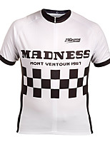 cheap -21Grams Men's Short Sleeve Cycling Jersey Winter 100% Polyester White Bike Jersey Top Mountain Bike MTB Road Bike Cycling UV Resistant Breathable Quick Dry Sports Clothing Apparel / Stretchy