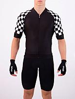 cheap -21Grams Men's Short Sleeve Triathlon Tri Suit Black / White Plaid / Checkered Bike Clothing Suit UV Resistant Breathable Quick Dry Sweat-wicking Sports Plaid / Checkered Mountain Bike MTB Road Bike