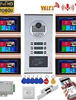 cheap -MOUNTAINONE SY709GHIDPENO6 WIFI / Wired & Wireless 7inch Record Wired Wifi Video Intercom 6 Apartments Doorphone System with  RFID 1080P Doorbell Camera NO Electric Strike Door Lock