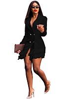 cheap -Women's Blazer Notch Lapel Polyester Black