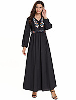 cheap -Adults' Women's Abaya Dress For Party Pleuche Cotton Embroidered Halloween Carnival Masquerade Dress