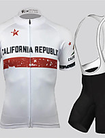 cheap -21Grams Men's Short Sleeve Cycling Jersey with Bib Shorts Black / White California Republic National Flag Bike Clothing Suit UV Resistant Breathable Quick Dry Sports California Republic Mountain Bike