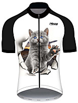 cheap -21Grams Men's Short Sleeve Cycling Jersey 100% Polyester Black / White Cat Animal Bike Jersey Top Mountain Bike MTB Road Bike Cycling UV Resistant Breathable Quick Dry Sports Clothing Apparel