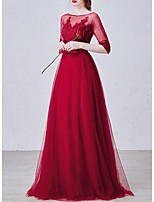 cheap -A-Line Jewel Neck Sweep / Brush Train Polyester Floral / Red Engagement / Formal Evening Dress with Appliques 2020