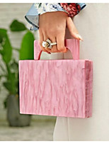 cheap -Women's Acrylic Top Handle Bag Solid Color Blushing Pink