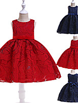 cheap -Princess Dress Flower Girl Dress Girls' Movie Cosplay A-Line Slip Cosplay Ink Blue / Red Dress Halloween Carnival Masquerade Lace Polyester