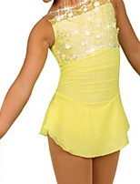 cheap -Figure Skating Dress Women's Girls' Ice Skating Dress Yellow Patchwork Spandex High Elasticity Training Competition Skating Wear Crystal / Rhinestone Sleeveless Ice Skating Figure Skating