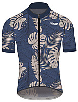 cheap -21Grams Men's Short Sleeve Cycling Jersey 100% Polyester Dark Navy Floral Botanical Bike Jersey Top Mountain Bike MTB Road Bike Cycling Quick Dry Sports Clothing Apparel / Race Fit