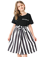 cheap -Toddler Girls' Striped Short Sleeve Above Knee Dress Black