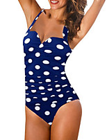 cheap -Women's Black Blue Red Bikini Swimwear - Polka Dot M L XL Black