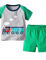 cheap -Kids Boys' Basic Christmas Home Print Cartoon Print Short Sleeve Regular Regular Clothing Set Light gray