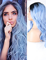 cheap -Synthetic Lace Front Wig Wavy Middle Part Lace Front Wig Long Ombre Blue Synthetic Hair 18-26 inch Women's Cosplay Soft Party Blue Ombre