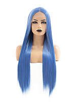 cheap -Synthetic Lace Front Wig Straight Gaga Middle Part Lace Front Wig Long Blue Synthetic Hair 22-26 inch Women's Heat Resistant Women Hot Sale Blue / Glueless