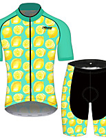 cheap -21Grams Women's Short Sleeve Cycling Jersey with Shorts Blue+Yellow Fruit Lemon Bike Clothing Suit Breathable 3D Pad Quick Dry Ultraviolet Resistant Reflective Strips Sports Fruit Mountain Bike MTB