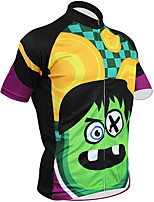 cheap -21Grams Men's Short Sleeve Cycling Jersey 100% Polyester Green / Black Cartoon Bike Jersey Top Mountain Bike MTB Road Bike Cycling UV Resistant Breathable Quick Dry Sports Clothing Apparel / Stretchy