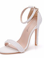 cheap -Women's Wedding Shoes Stiletto Heel Open Toe PU Summer White