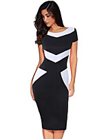 cheap -The Marvelous Mrs. Maisel Retro Vintage 1950s Wasp-Waisted Summer Dress Women's Spandex Cotton Costume Black & White Vintage Cosplay Party Daily Wear Short Sleeve Knee Length
