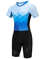 cheap -21Grams Women's Short Sleeve Triathlon Tri Suit Black / Blue Argyle Bike Clothing Suit UV Resistant Breathable Quick Dry Sweat-wicking Sports Argyle Mountain Bike MTB Road Bike Cycling Clothing