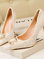 cheap -Women's Wedding Shoes Stiletto Heel Pointed Toe Denim Spring & Summer Black / White