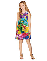 cheap -Kids Girls' Active Sweet Animal Cartoon Print Sleeveless Knee-length Dress Rainbow