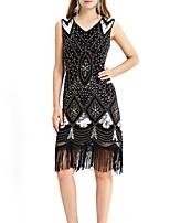 cheap -Latin Dance Dresses / Vintage / 1920s Women's Performance Terylene Tassel / Paillette Sleeveless Dress