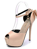 cheap -Women's Heels Stiletto Heel Peep Toe Bowknot Synthetics Sweet / British Summer / Spring & Summer Black / Almond / Red / Party & Evening