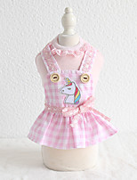 cheap -Dog Costume Dress Unicorn Dog Clothes Breathable Pink Gray Costume Beagle Bichon Frise Chihuahua Cotton Plaid / Check Animal Lace Casual / Sporty Cute XS S M L XL