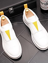 cheap -Men's Comfort Shoes Cowhide Fall & Winter Sneakers White / Blue / White / Yellow