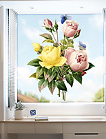 cheap -Color Peonies Window Film & Stickers Decoration Matte / Floral Floral PVC(PolyVinyl Chloride) Window Sticker / Matte / Door Sticker
