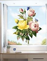 cheap -Color Peonies Window Film & Stickers Decoration Matte / Floral Floral PVC(PolyVinyl Chloride) Window Sticker / Matte / Door Sticker