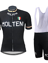 cheap -21Grams Men's Short Sleeve Cycling Jersey with Bib Shorts Black Black / Orange Italy National Flag Bike Clothing Suit UV Resistant Breathable Quick Dry Sports Italy Mountain Bike MTB Road Bike Cycling