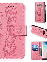 cheap -Cat and tiger pattern embossed phone caseSamsung S9/S10 Plus S10Lite Samsung Note10  Plus  all-inclusive protective case card holder wallet PU leather