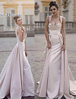 cheap -A-Line Scoop Neck Sweep / Brush Train Satin Elegant Formal Evening Dress 2020 with Ruched