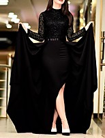 cheap -A-Line High Neck Floor Length Polyester Elegant Formal Evening / Holiday Dress 2020 with Sequin