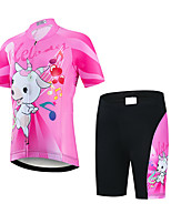 cheap -21Grams Girls' Short Sleeve Cycling Jersey with Shorts - Kid's Pink / Black Animal Bike Clothing Suit UV Resistant Breathable Quick Dry Sweat-wicking Sports Animal Mountain Bike MTB Road Bike Cycling