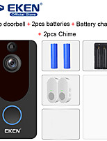 cheap -EKEN V7 HD 1080P Smart WiFi Video Doorbell with 2*18650 Battery 2*Chime 1*18650 Battery Charger