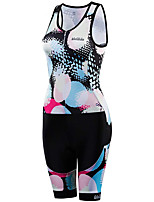 cheap -21Grams Women's Sleeveless Triathlon Tri Suit Black / White Polka Dot Bike Clothing Suit UV Resistant Breathable Quick Dry Sweat-wicking Sports Polka Dot Mountain Bike MTB Road Bike Cycling Clothing
