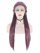 cheap -Synthetic Lace Front Wig Straight Free Part Lace Front Wig Long Purple Synthetic Hair 18-26 inch Women's Soft Adjustable Party Purple