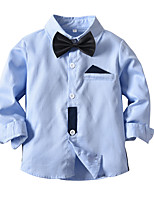 cheap -Kids Toddler Boys' Basic Color Block Long Sleeve Shirt Light Blue