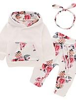 cheap -Baby Girls' Basic Floral Long Sleeve Regular Clothing Set White