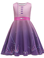cheap -Kids Toddler Girls' Active Sweet Geometric Print Sleeveless Above Knee Dress Purple