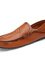 cheap -Men's Moccasin Nappa Leather Spring & Summer / Fall & Winter Casual / British Loafers & Slip-Ons Non-slipping Black / Brown / White