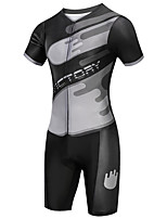 cheap -21Grams Men's Short Sleeve Triathlon Tri Suit Black Bike Clothing Suit UV Resistant Breathable Quick Dry Sweat-wicking Sports Solid Color Mountain Bike MTB Road Bike Cycling Clothing Apparel