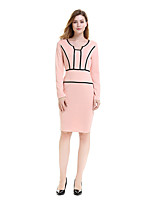 cheap -The Marvelous Mrs. Maisel Retro Vintage 1950s Wasp-Waisted Dress Women's Cotton Costume Pink Vintage Cosplay Party Daily Wear Long Sleeve Midi