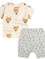 cheap -Kids Boys' Basic Print Short Sleeve Clothing Set Beige