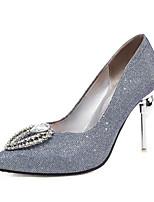 cheap -Women's Heels Stiletto Heel Pointed Toe Rhinestone PU Classic Spring &  Fall Blue / Silver / Wedding / Party & Evening
