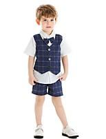 cheap -Kids Boys' Basic Plaid Short Sleeve Clothing Set Blue