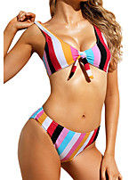cheap -Women's Basic Rainbow Halter Cheeky Bikini Swimwear - Striped Print S M L Rainbow
